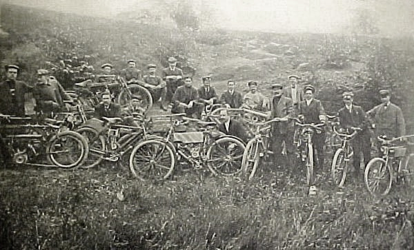 Old image of motorcyclists